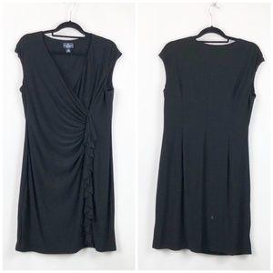 American Living Black Rouched Ruffle Midi Dress